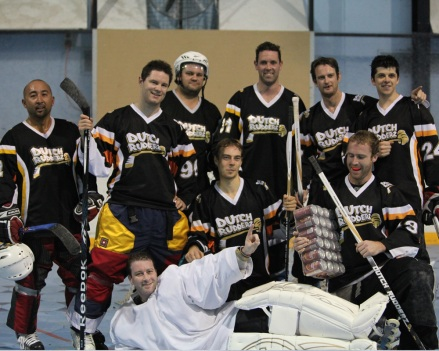 The A-Team: 2012 Summer TNL Champs. Back row (from L to R) - T-Bone, Punchy, Monster, Stavros, Mirrors. Sitting - Blowy, Moose, Waterboy (goalie).